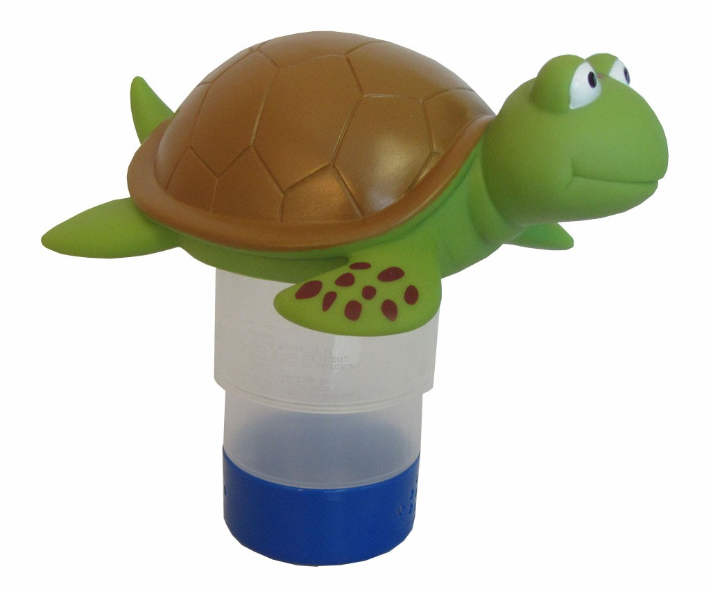 Floating Chlorine Bromine Dispenser for Swimming Pools Shaped as a Turtle