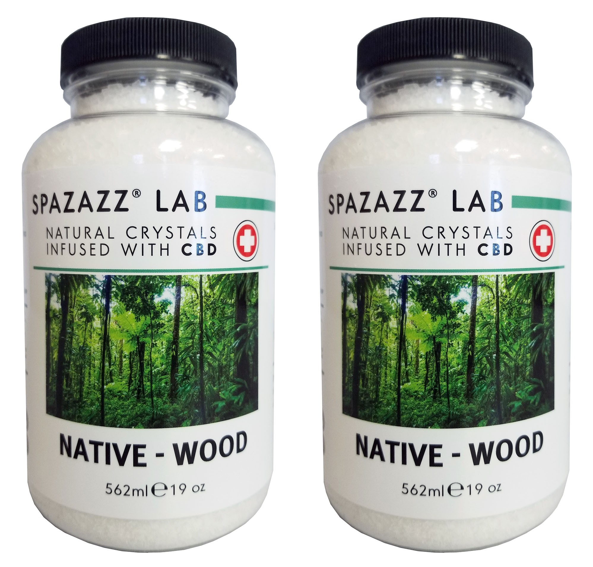 Spazazz Aromatherapy Spa & Bath Crystals Infused with CBD - Native Wood 19oz 2PK