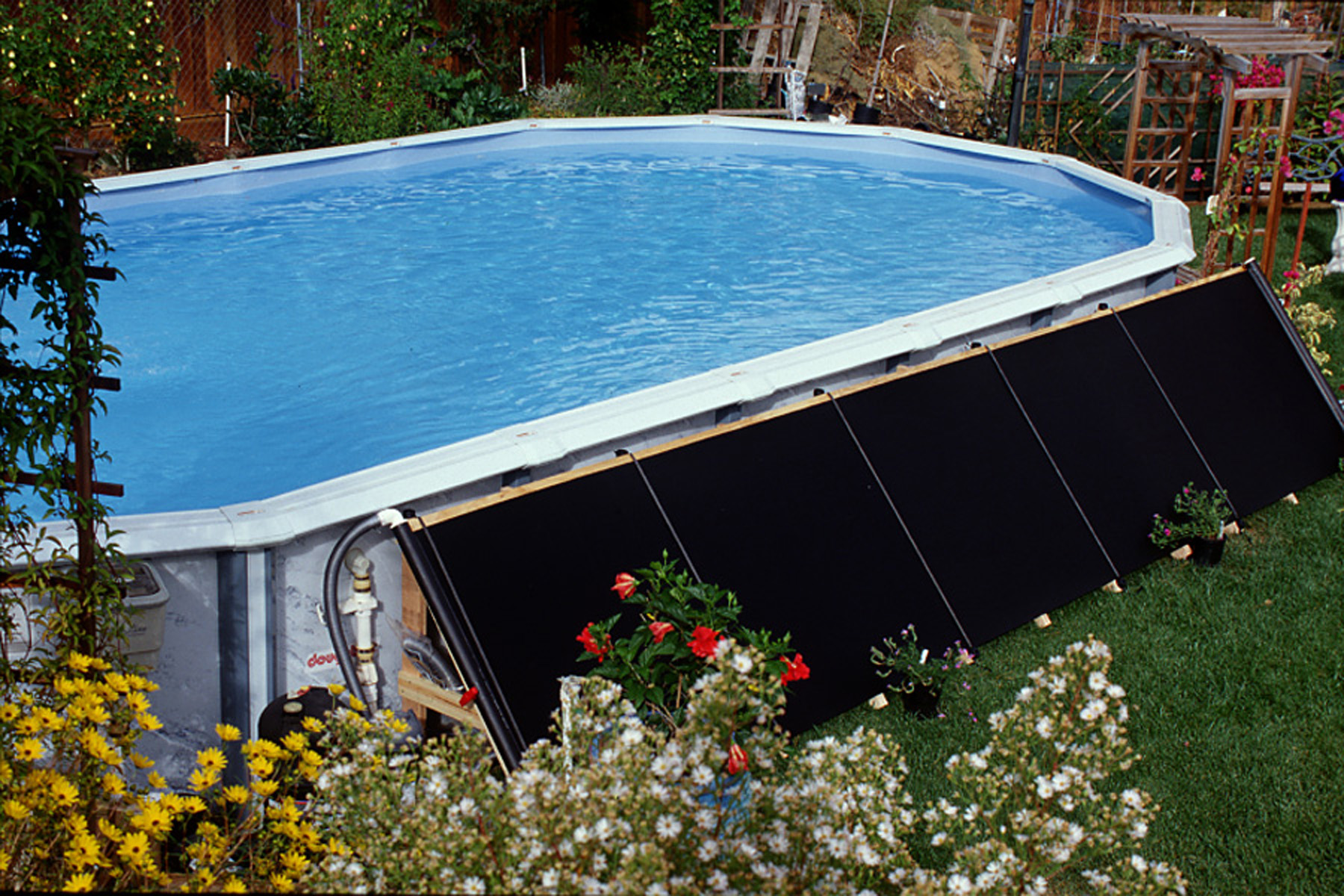 New fafco solar swimming pool above ground solar heating panel kit 4 39 x 20 39 ebay for Solar heaters for swimming pools