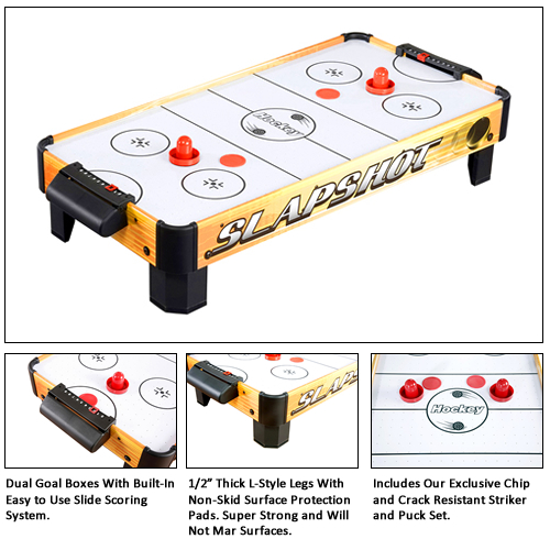 Slapshot 40 table top air hockey game by carmelli for Air hockey blower fan motor