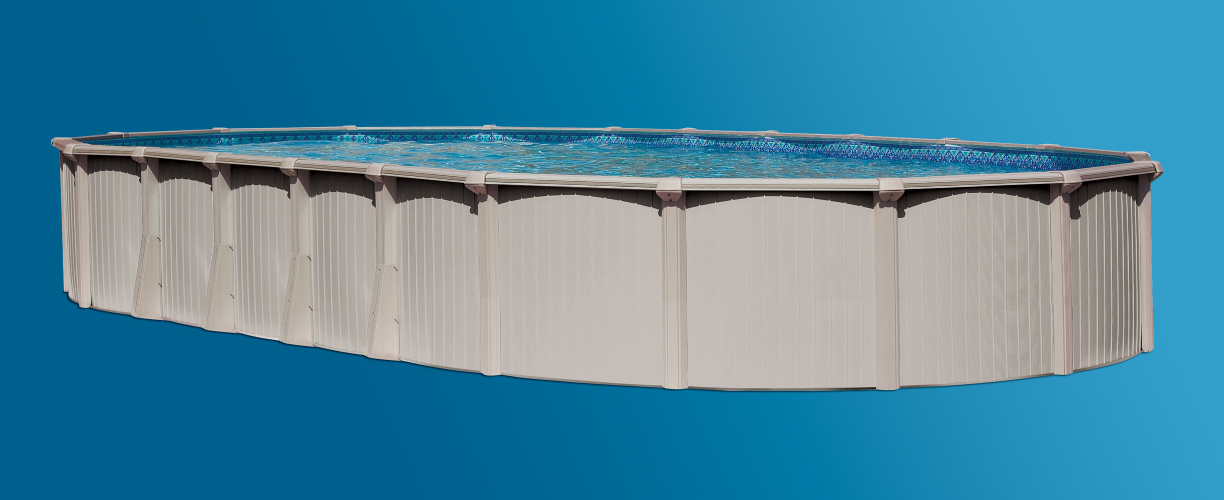 Bermuda 12 39 x24 39 oval 54 aluminum above ground swimming for Top of the line above ground pools