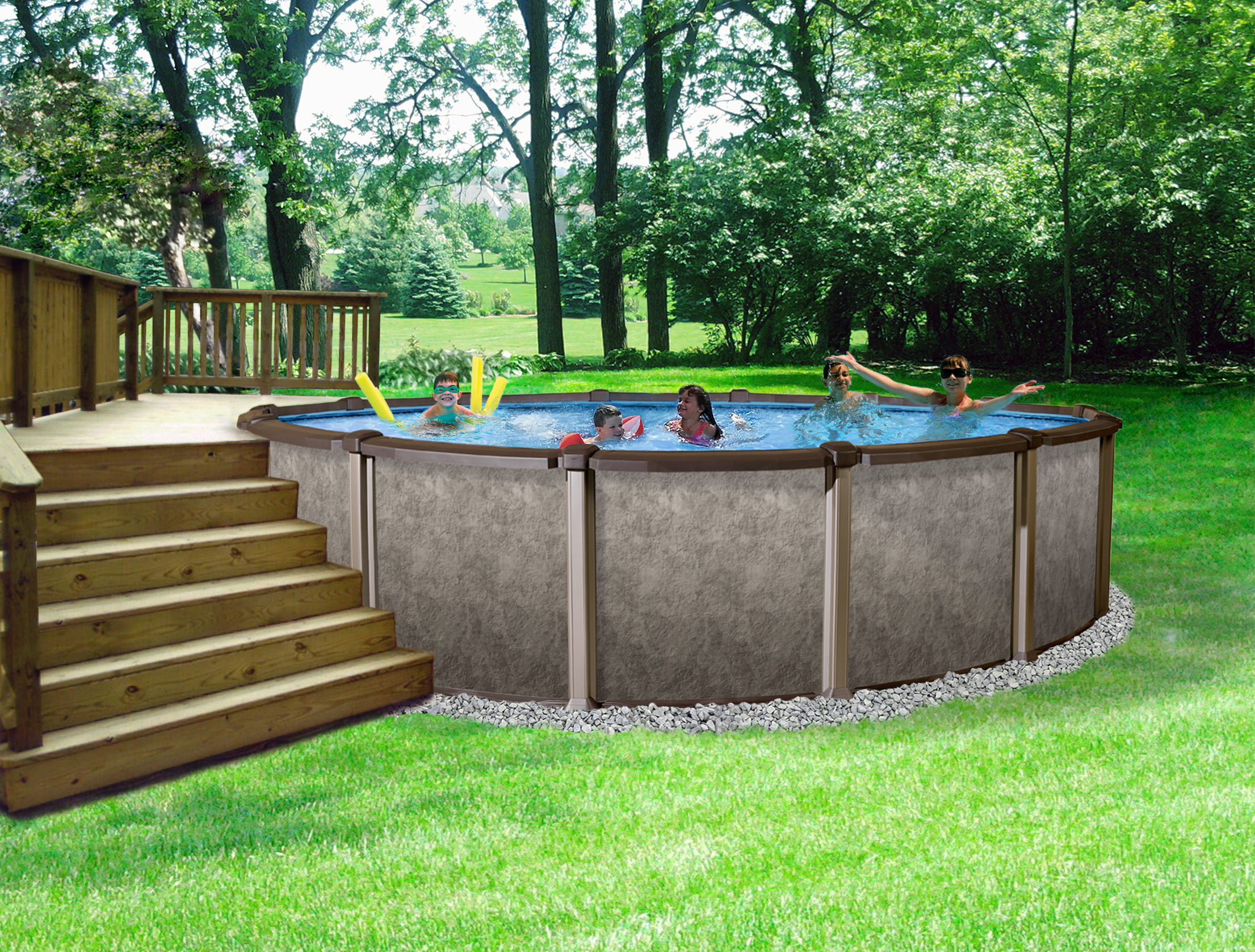 Riviera metal wall above ground swimming pool 27 39 round and 54 39 39 deep ebay for Round swimming pools above ground